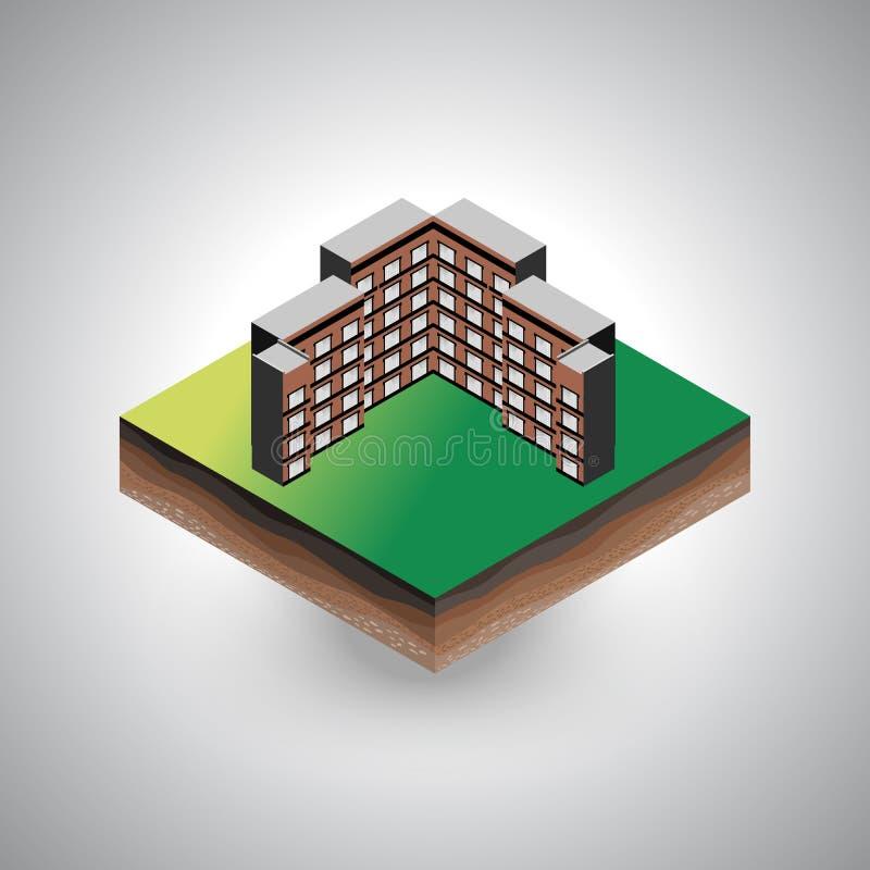 Edificio isométrico en el pedazo de suelo ilustración del vector
