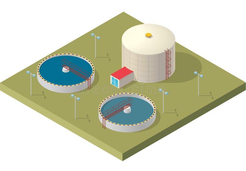 Edificio isométrico infographic, purificador grande del tratamiento de aguas de la bacteria en el fondo blanco libre illustration