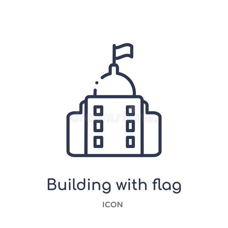 Edificio linear con el icono de la bandera de la colección del esquema de los edificios Línea fina edificio con el icono de la ba libre illustration