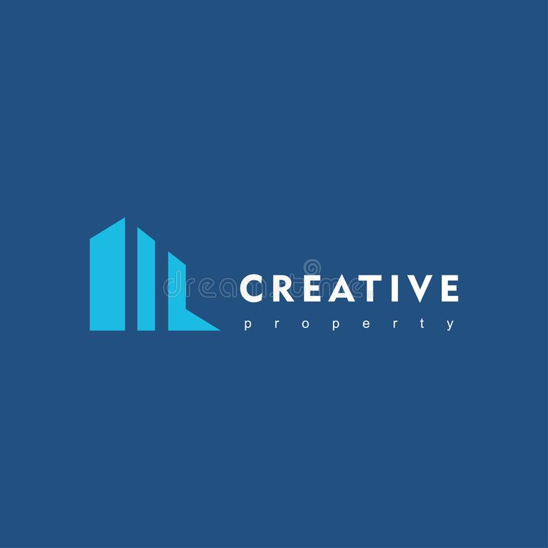Edificio minimalista creativo Ejemplo del vector del icono del logotipo de la propiedad de las propiedades inmobiliarias libre illustration