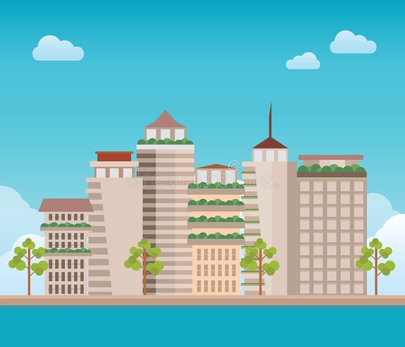 Edificio moderno de la ciudad en el fondo del cielo del tiempo del día y de la c stock de ilustración