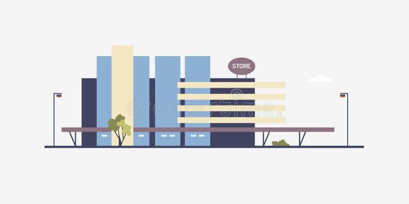 Edificio moderno del megastore o del centro comercial construido en estilo arquitectónico contemporáneo Fachada de la tienda gran libre illustration