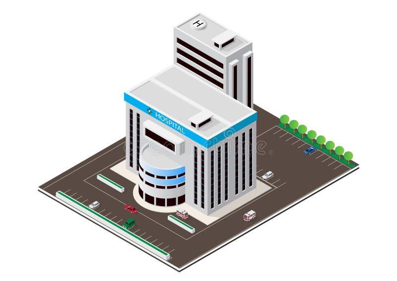 Edificio moderno isom?trico del hospital del vector stock de ilustración