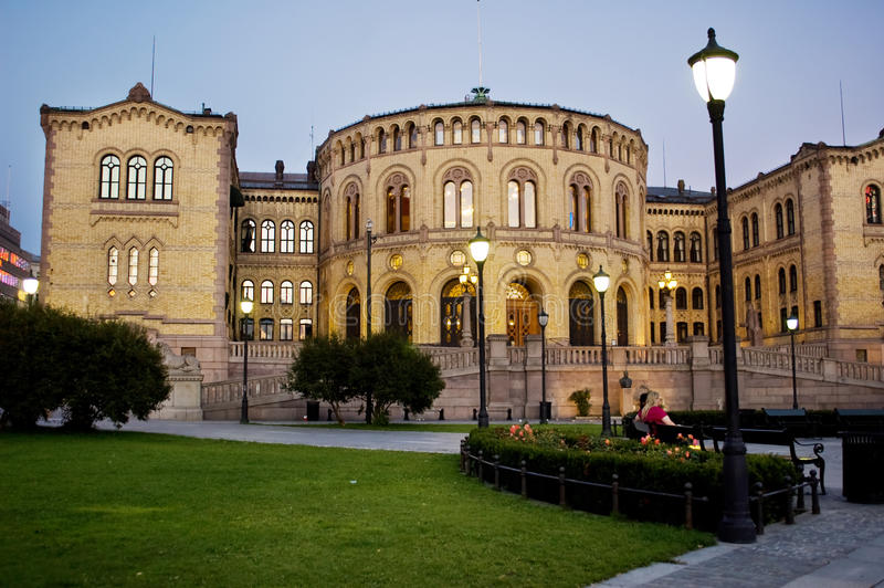 Edificio noruego del parlamento en Oslo fotos de archivo libres de regalías