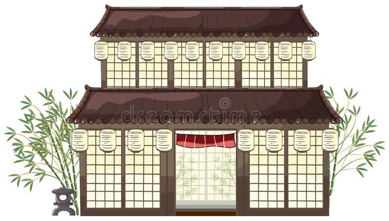 Edificio oriental con las linternas y el bambú stock de ilustración