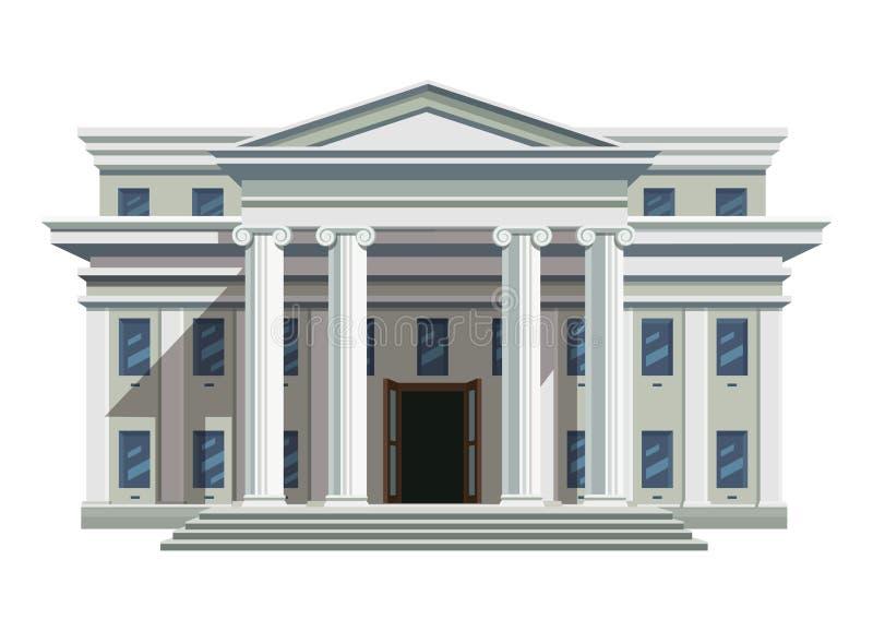 Edificio público del ladrillo blanco con las altas columnas ilustración del vector