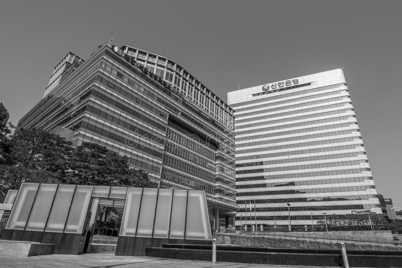 Edificio per uffici a Seoul in bianco e nero fotografie stock