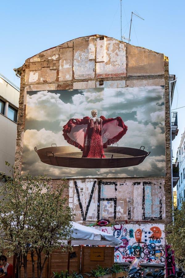 Edificio pintado en las calles de Valencia en España foto de archivo libre de regalías