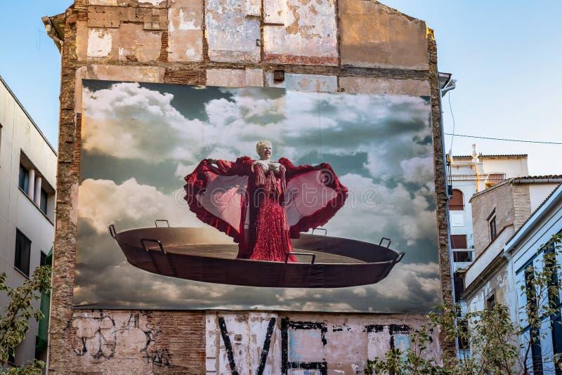 Edificio pintado en las calles de Valencia en Espa?a fotos de archivo libres de regalías