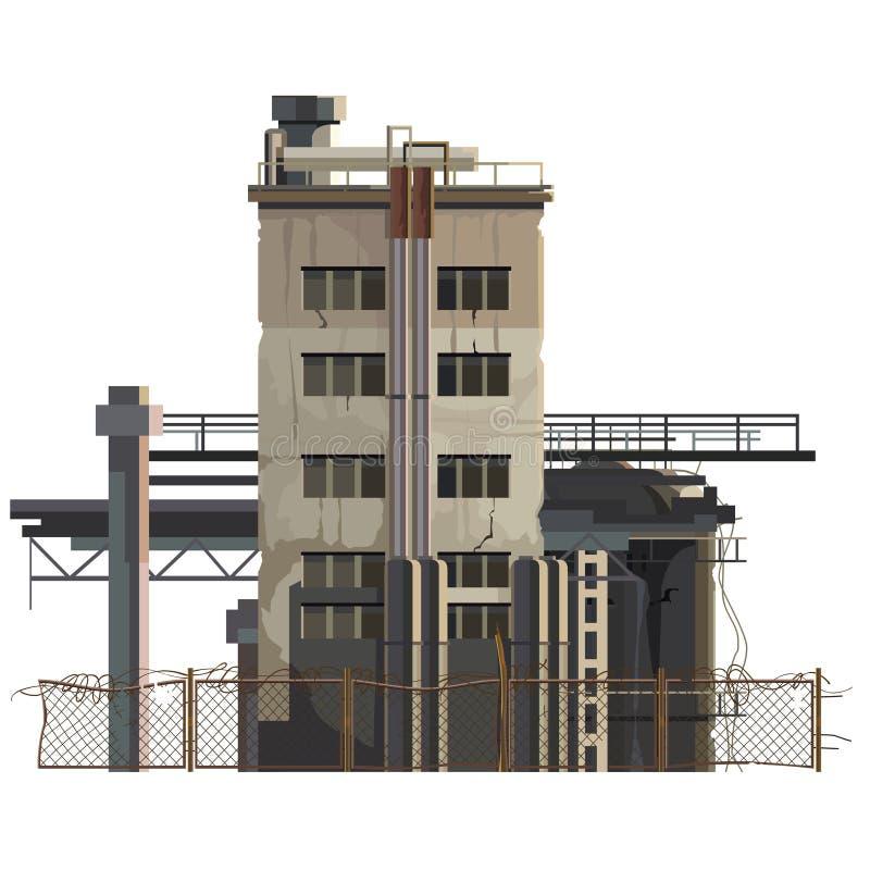 Edificio pintado en un área industrial con extensiones stock de ilustración