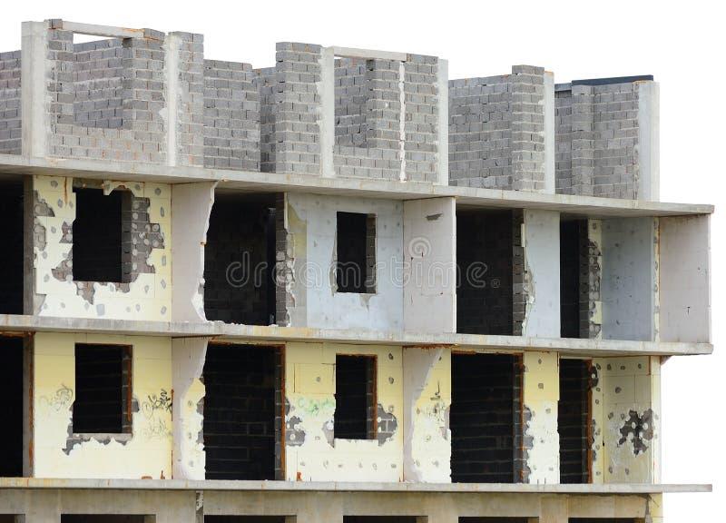 Edificio plano demolido inacabado resistido envejecido viejo de la propiedad horizontal del panel de la unidad del apartamento re imagen de archivo libre de regalías