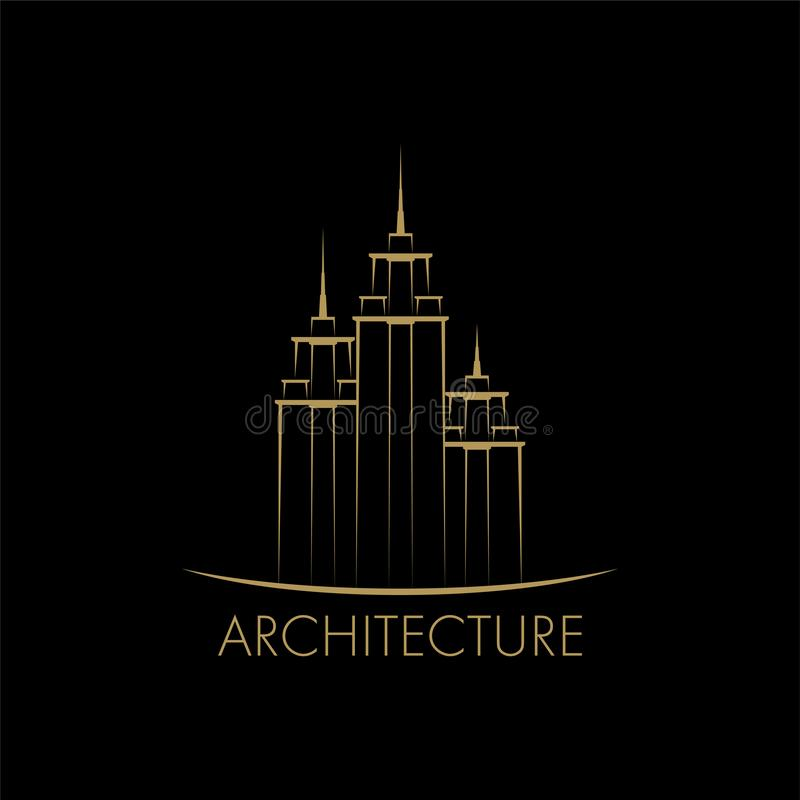 Edificio, plantilla del diseño del logotipo de la torre ilustración del vector