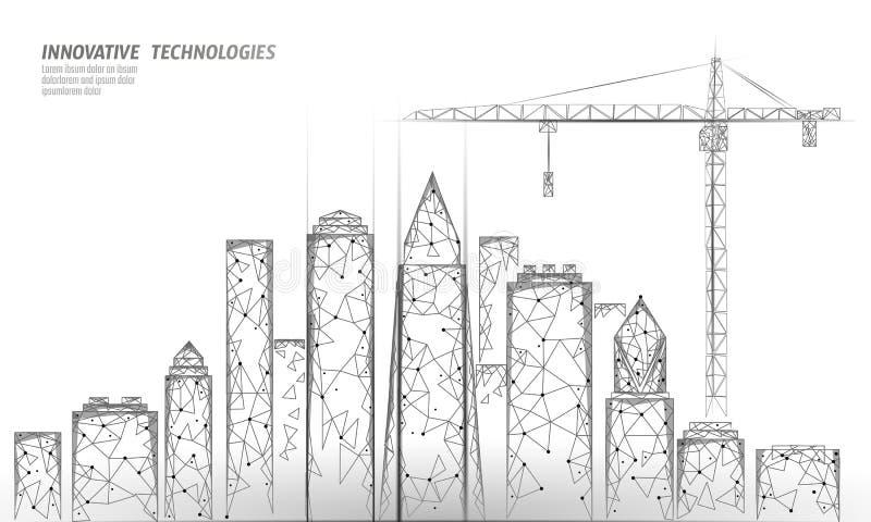 Edificio polivinílico bajo debajo de la grúa de construcción Tecnología moderna industrial del negocio Extracto 3D geométrico pol stock de ilustración