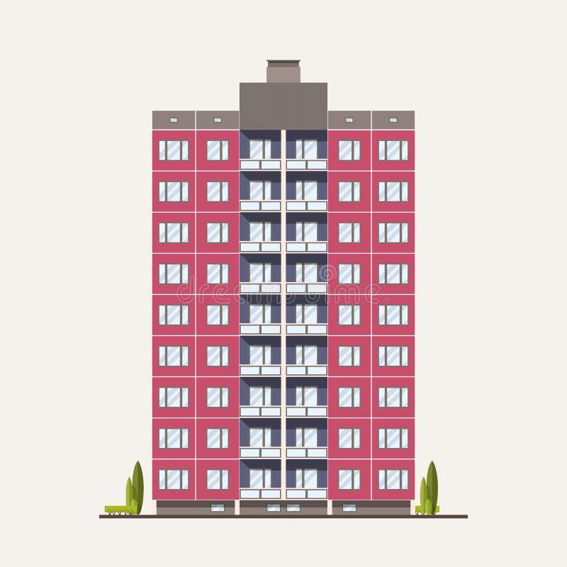 Edificio prefabbricato rosa moderno del pannello costruito nello stile architettonico sovietico Esterno o facciata della casa res illustrazione di stock