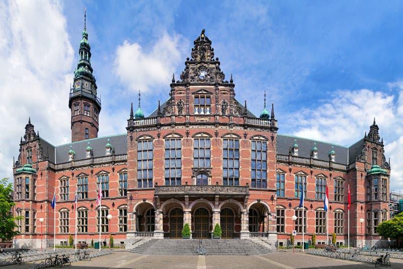 Edificio principal de la universidad de Groninga, Países Bajos imagen de archivo