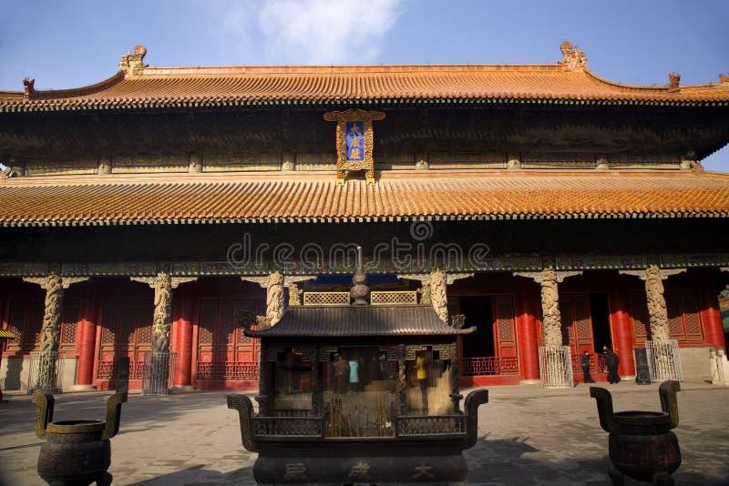 Edificio principal Qufu China del templo de Confucius imagenes de archivo