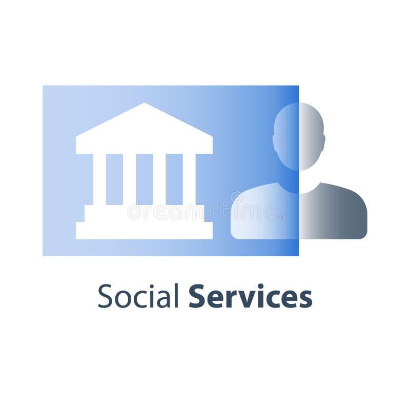 Edificio pubblico municipale, servizi sociali, risorse online, procedimento legale, casa di corte e giustizia, diritti civili illustrazione di stock