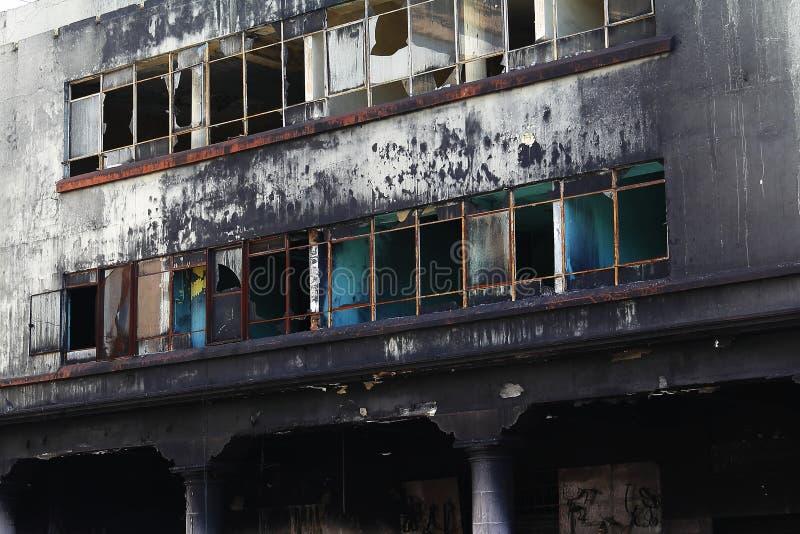 Edificio quemado, Uruapan fotografía de archivo