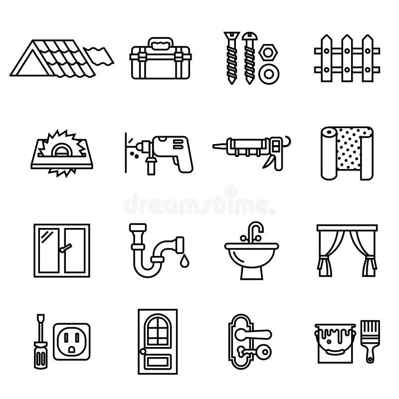 Edificio, reparación e iconos caseros de la renovación fijados stock de ilustración