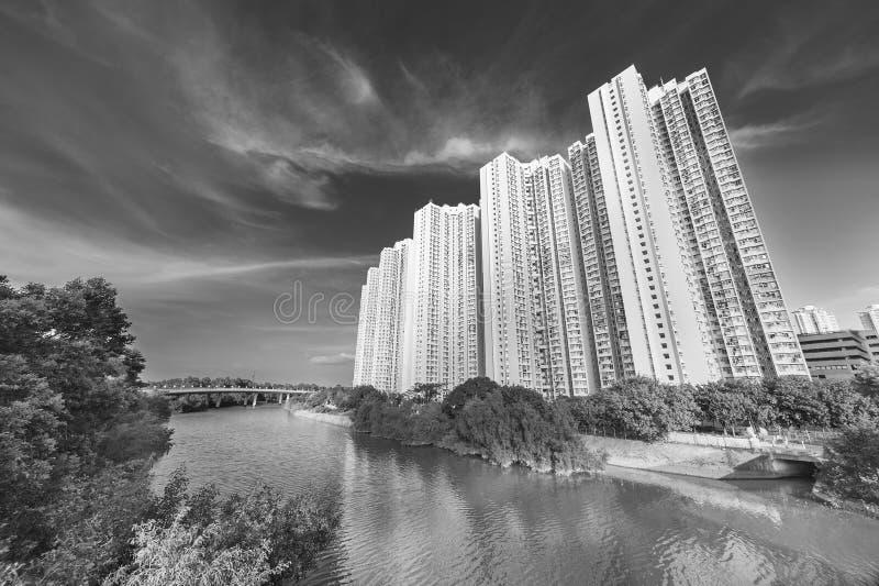 Edificio residenziale di alto aumento della proprietà pubblica nella città di Hong Kong immagine stock libera da diritti
