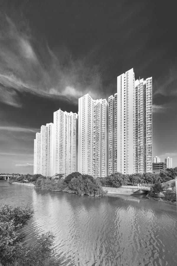 Edificio residenziale di alto aumento della proprietà pubblica nella città di Hong Kong fotografia stock libera da diritti