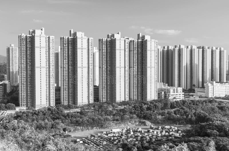 Edificio residenziale di alto aumento della proprietà pubblica nella città di Hong Kong fotografie stock