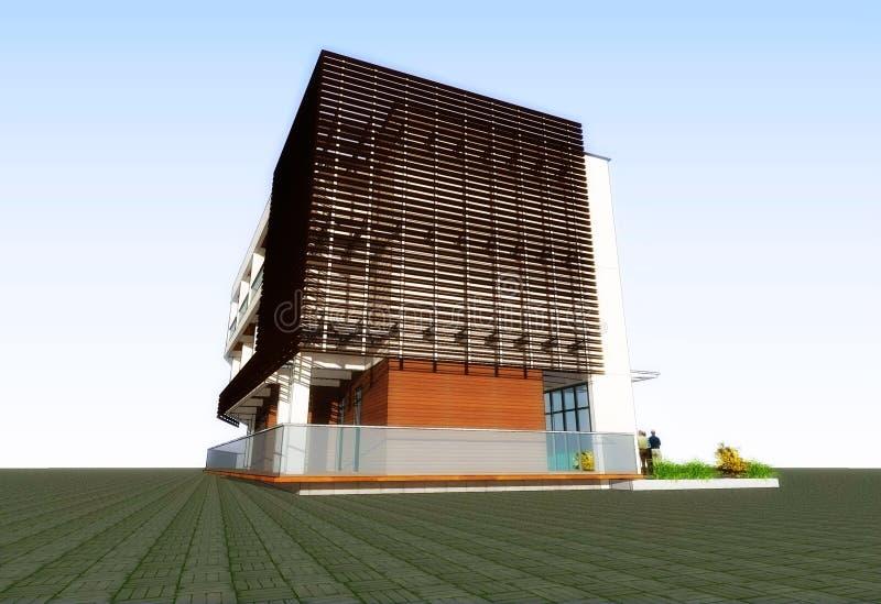 edificio residenziale moderno 3D illustrazione vettoriale