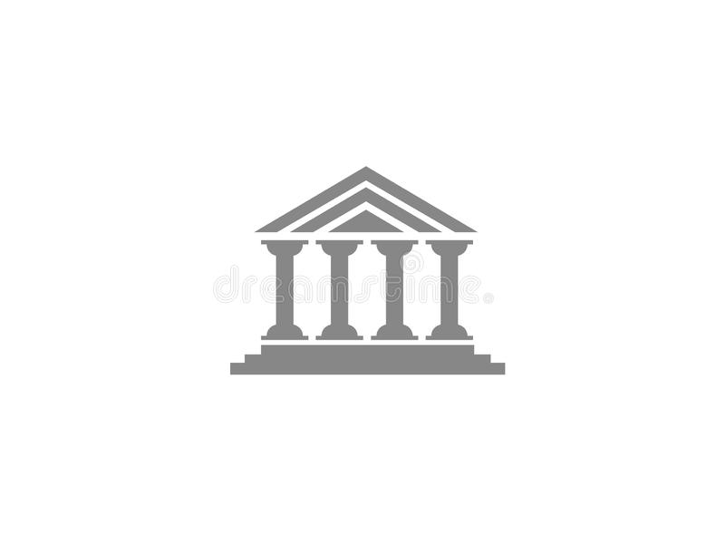 Edificio romano del templo de las columnas para el logotipo stock de ilustración