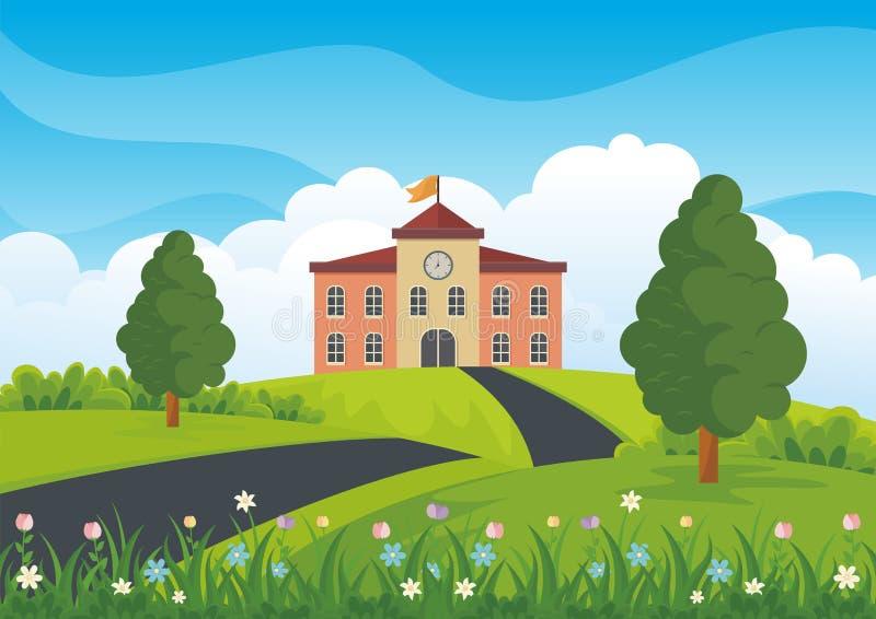 Edificio scolastico con il fumetto adorabile del paesaggio della natura illustrazione vettoriale