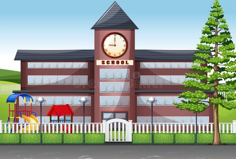 Edificio scolastico e campo da giuoco illustrazione di stock