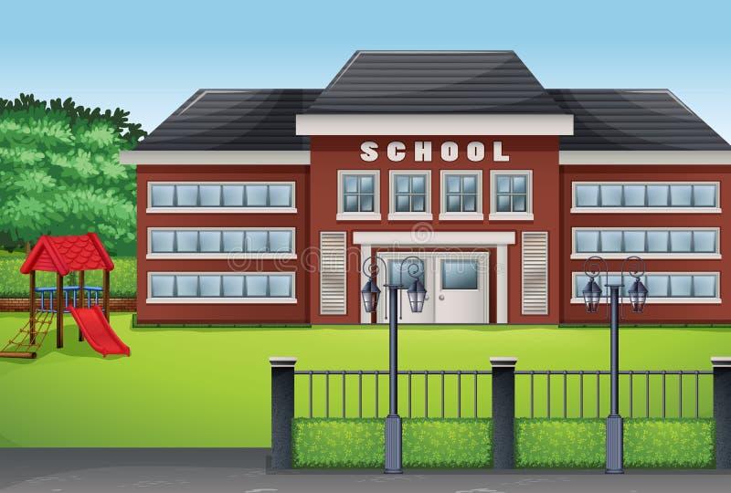 Edificio scolastico e prato inglese verde illustrazione di stock