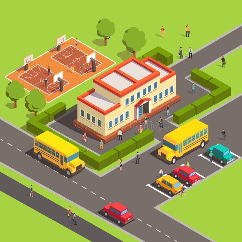 Edificio scolastico isometrico con la gente illustrazione vettoriale