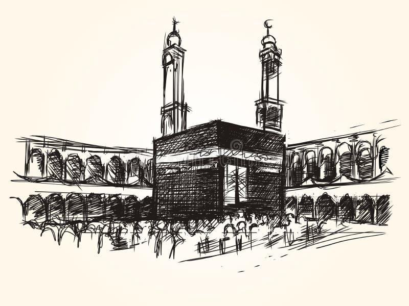 Edificio simbólico santo de Kaaba en jadye del peregrinaje del dibujo de bosquejo del vector del Islam ilustración del vector