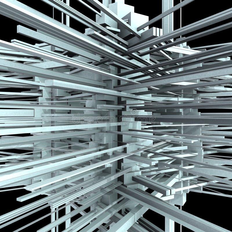 Edificio urbano abstracto de la ciudad en el caos 02 stock de ilustración