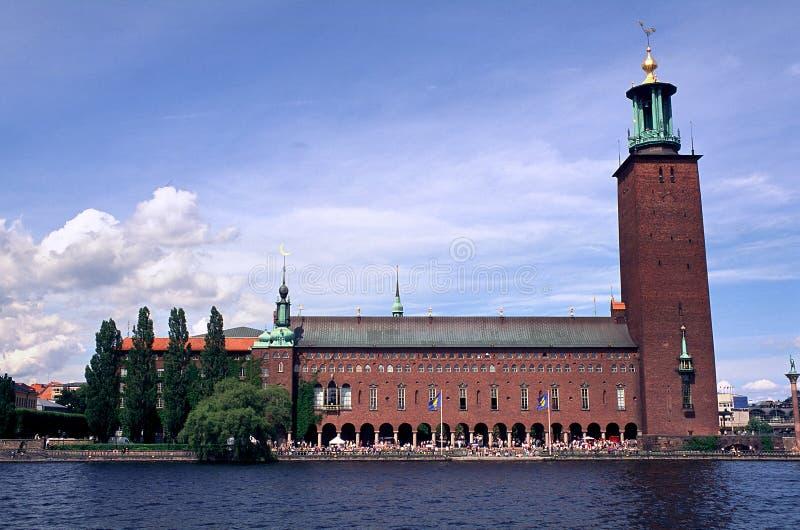 Edificio viejo de la ciudad en Suecia imagen de archivo