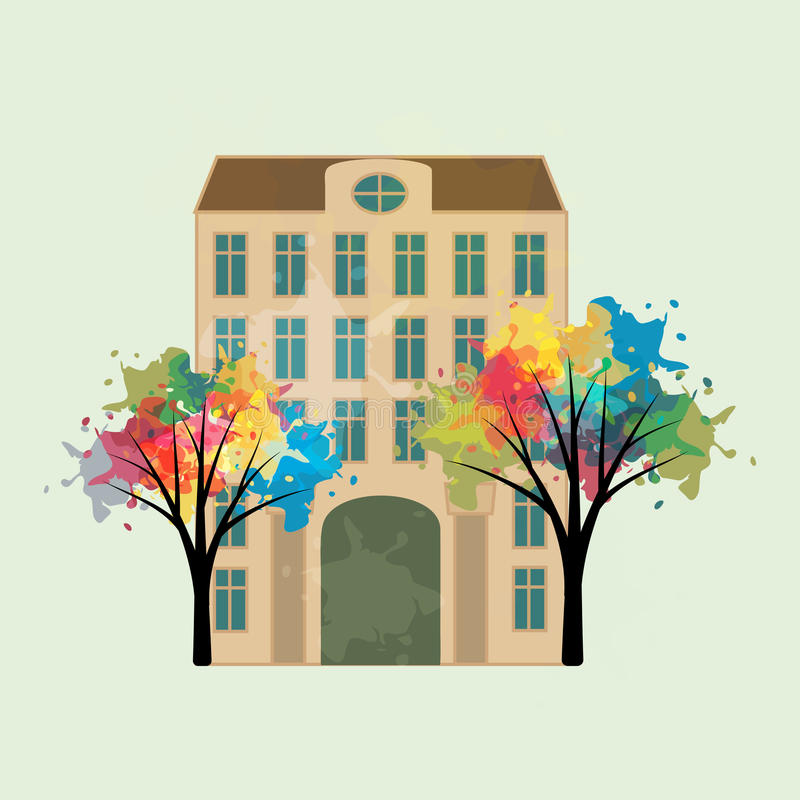 Edificio y árboles stock de ilustración