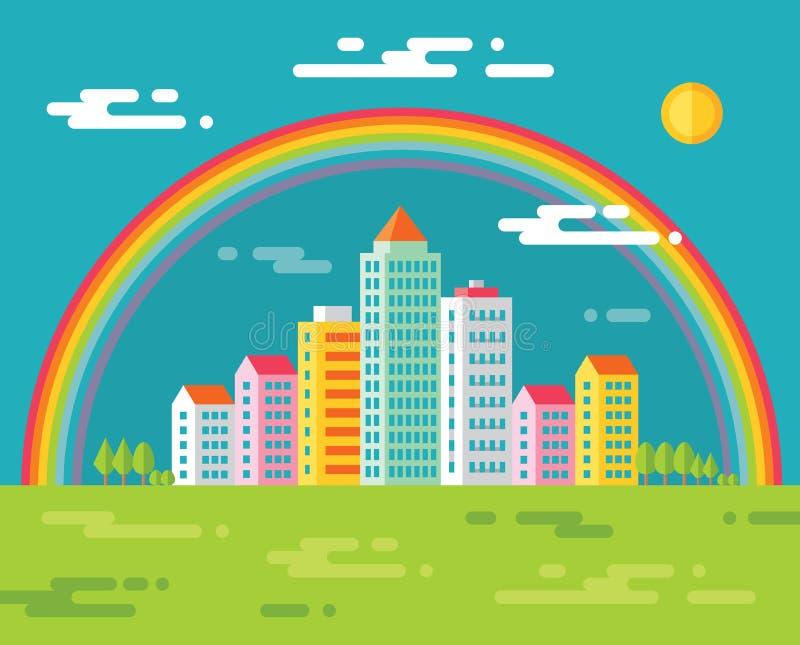 Edificio y arco iris en ciudad - vector el ejemplo del concepto en el estilo plano del diseño para la presentación, el folleto, e ilustración del vector