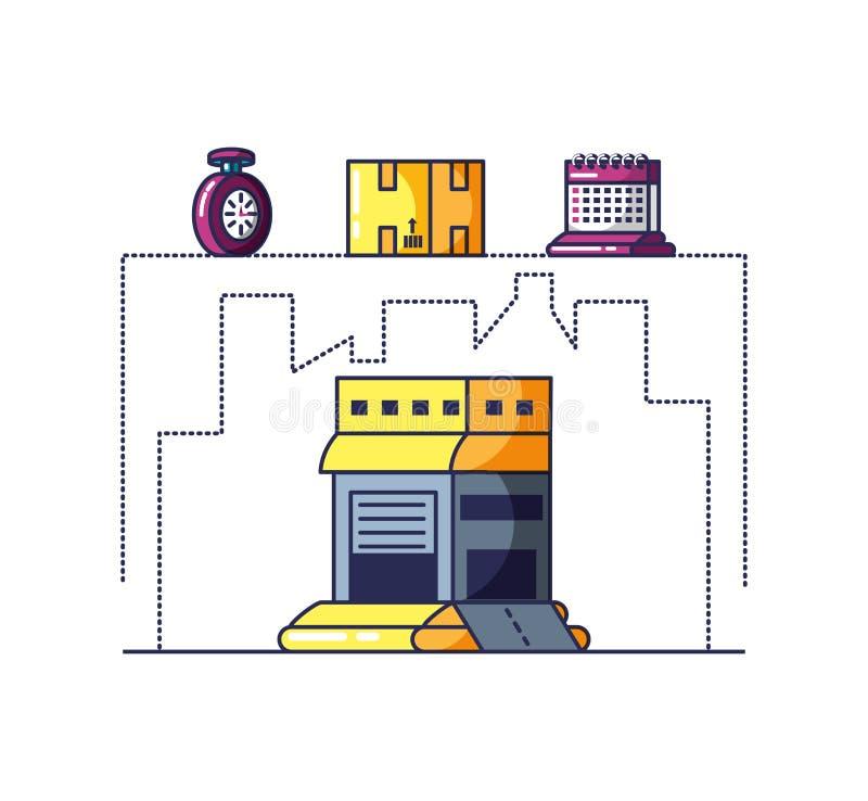 Edificio y caja de servicio de entrega libre illustration