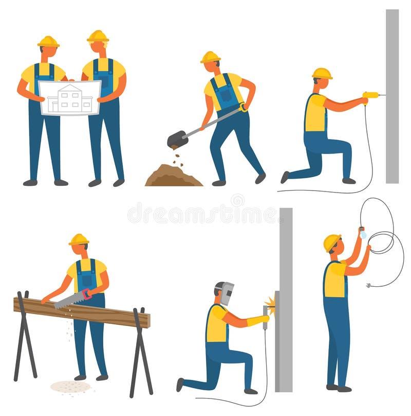 Edificio y construcciones, trabajadores y herramientas ilustración del vector