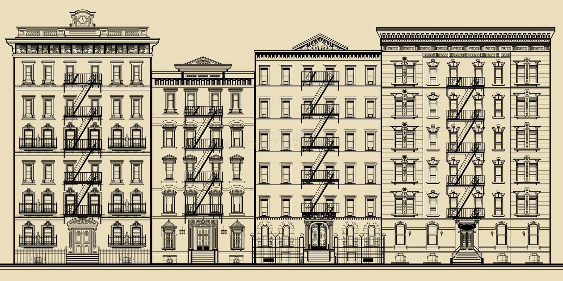 Edificio y fachadas viejos de Nueva York stock de ilustración