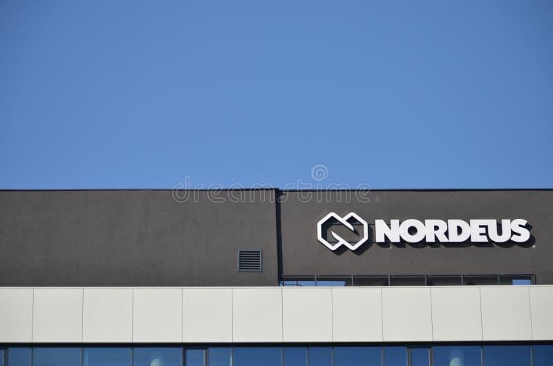 Edificio y logotipo de Nordeus imagen de archivo