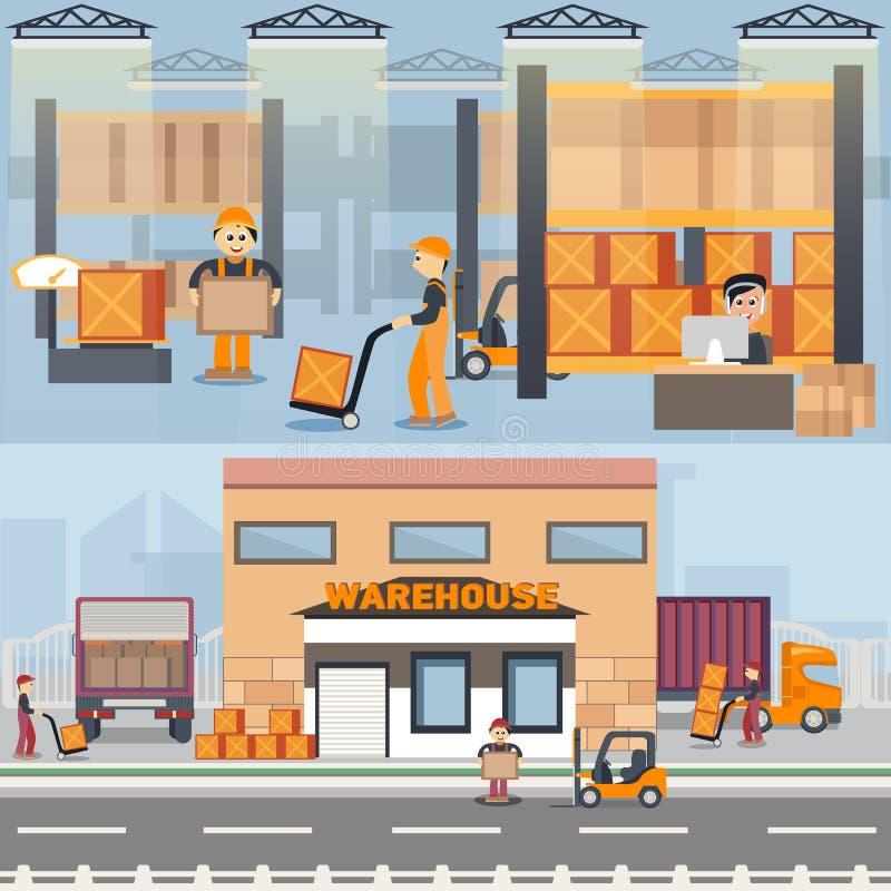 Edificio y proceso de envío de Warehouse libre illustration