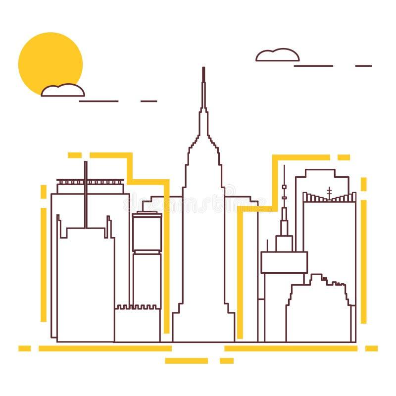 Edificio y rascacielos Vuelo del pájaro - 1 Configuración ilustración del vector