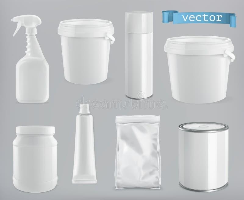 Edificio y sanitario de empaquetado Paquete blanco del plástico, del metal y del papel sistema de la maqueta del vector ilustración del vector