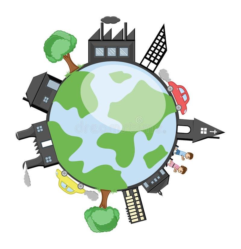 Edificios, árboles y niños alrededor de la tierra stock de ilustración