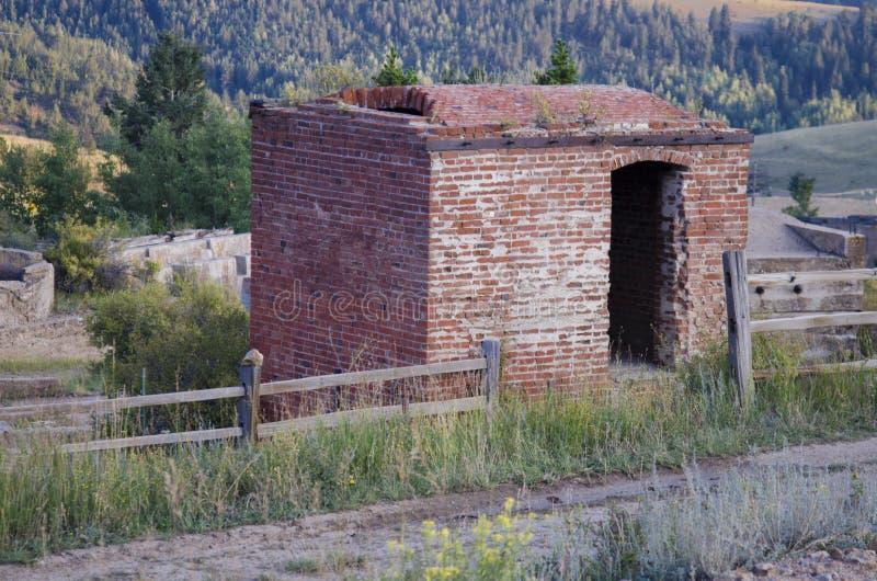 Edificios abandonados en mina de oro histórica en Victor Colorado imagen de archivo