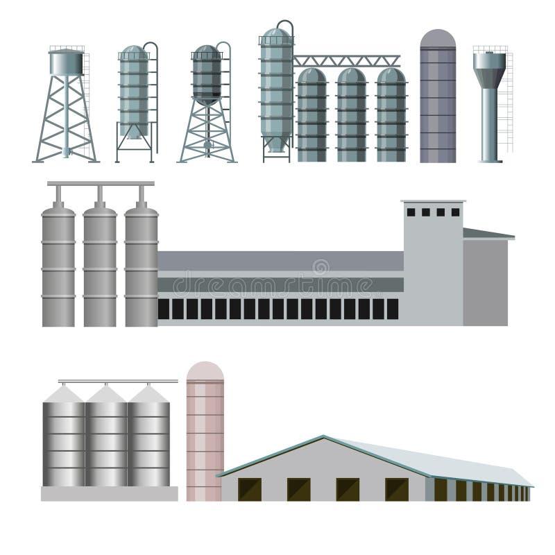 Edificios agrícolas y construcciones ilustración del vector