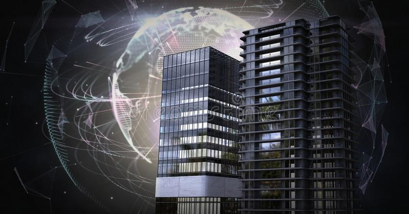 Edificios altos con el campo enérgico del globo del mundo ilustración del vector