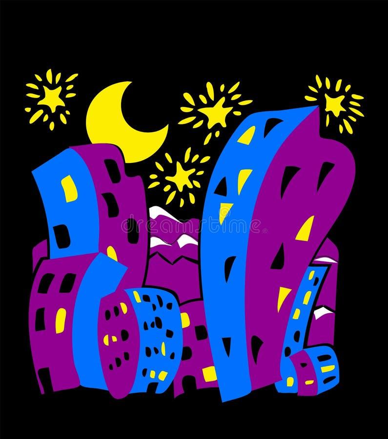 Edificios altos de la historieta en la ciudad en la noche libre illustration