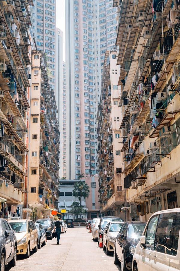 Edificios altos en la bahía de la mina en Hong Kong foto de archivo libre de regalías